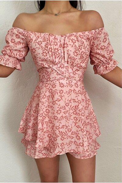 Kadın Pembe Şortlu Tulum Elbise
