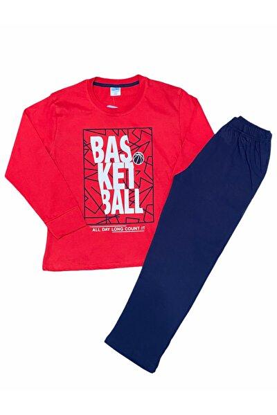 Erkek Çocuk Kırmızı Basketball Uzun Kol Pijama Takım
