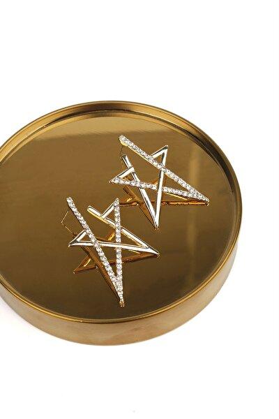 Kadın Altın Taşlı Yıldız Tasarımlı  Küpe