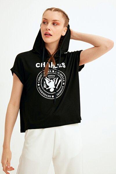 Kadın Siyah Charles Baskılı Kapüşonlu Tshirt