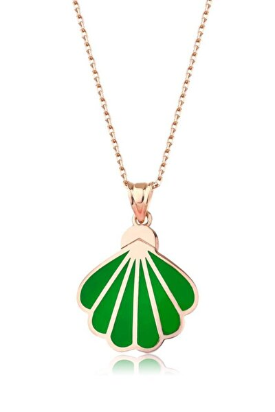 Kadın 925 Neon Yeşil Deniz Kabuğu Kolye