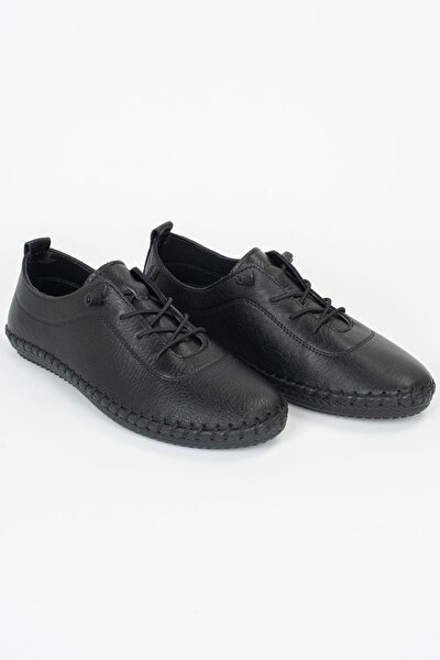 Kadın Full Comfort Ve Ortopedik  Siyah Günlük Rahat Lastik Bağcıklı Hava Alabilen  Ayakkabı