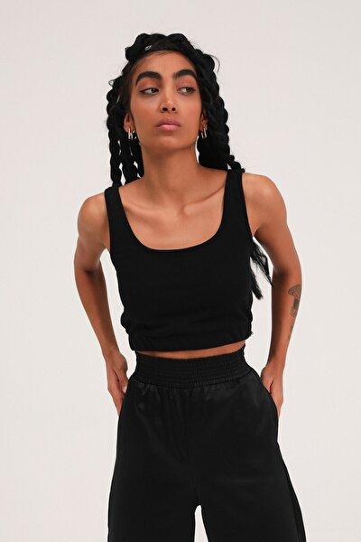 Kadın Siyah Kalın Askılı Crop Bluz