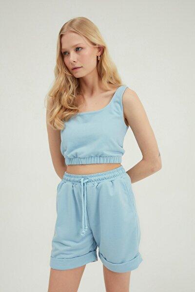 Kadın Askılı Crop Bluz