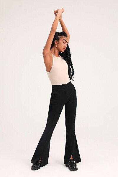 Ispanyol Paça Yüksek Bel Pantolon Siyah