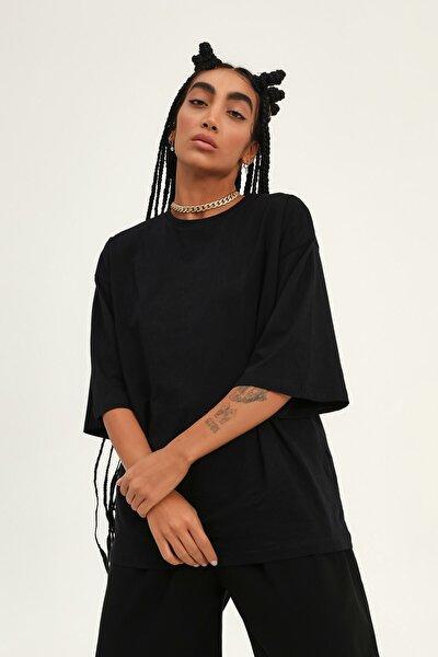 Truvakar Kol Basic Oversize Tişört Siyah