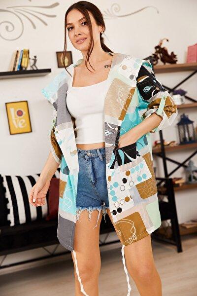 Kadın Mint Desenli Cepli Salaş Ceket ARM-21K001218