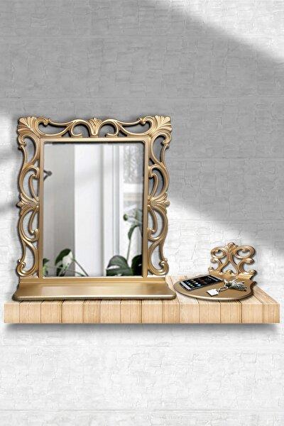Dekoratif Çerçeveli Ayna ve İşlemeli Stand Seti 55x67 Cm