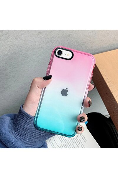 Iphone 7 Premium Rainbow Renkli Silikonlu Telefon Kılıfı