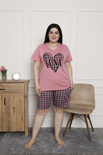 Kadın Pembe Şortlu Pamuklu Büyük Beden Pijama Takımı-2621