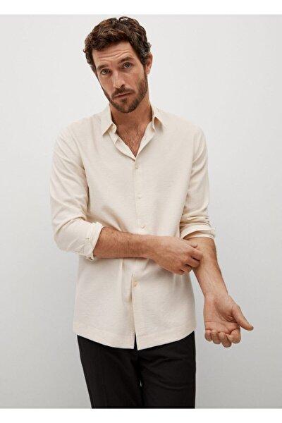 Erkek Bej Regular Kesim Dökümlü Gömlek