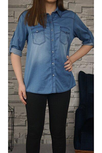 Kadın Mavi Kot Gömlek