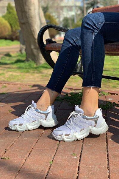 Kadın Beyaz Gri Sneaker