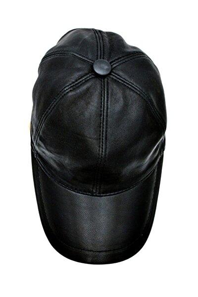 Unisex Siyah Hakiki Deri Beyzbol Şapka