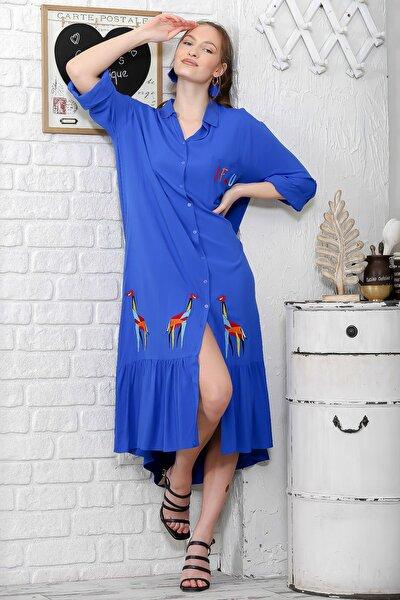 Kadın Mavi Zürafa Nakışlı Salaş Dokuma Gömlek Elbise M10160000EL95925