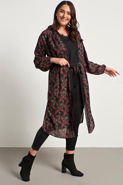 Dantel Şerit Detay Uzun Kimono