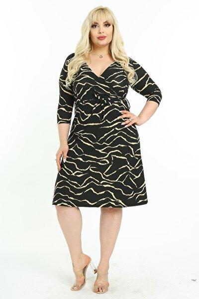 Kadın Siyah Cam Kırığı Desenli Kruvaze Yaka Büyük Beden Elbise