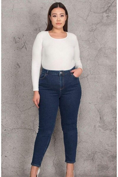 Kadın Mavi Büyük Beden Orta Likralı Kot Pantolon