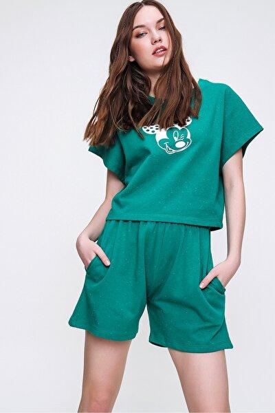 Kadın Yeşil Bisiklet Yaka Baskılı Şortlu Pijama Takımı ALC-X6323