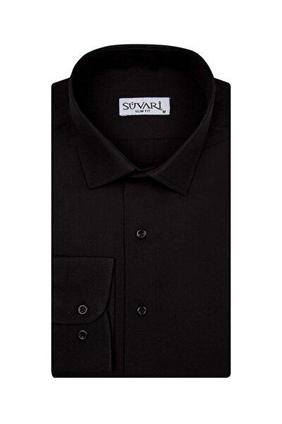 Slim Fit Siyah Düz Erkek Gömlek