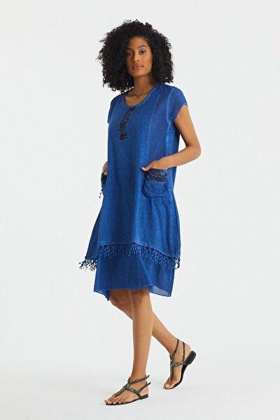 Valewoman Desenli Püskül Detaylı Astarlı Kadın Elbise | Otantik Elbise |