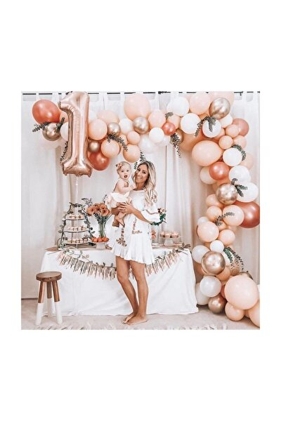 100 Adet Metalik Balon Ve Balon Zinciri (Krom Gümüş, Rose Gold, Beyaz, Pembe) Konsept Parti Seti