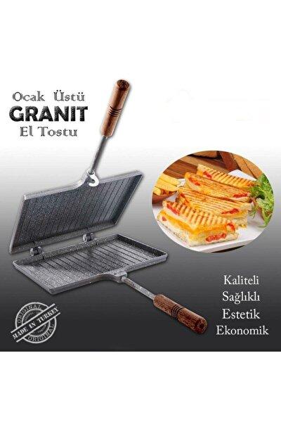 Iç Dış Granit Döküm El Tost Makinası, Granit Ultra Lüks Ocak Üstü Tost Grill