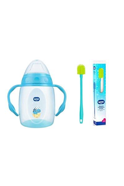 Kulplu Alıştırma Bardağı Mavi 250 Ml + Wee Yeni Silikon Uçlu Biberon Temizleme Fırçası