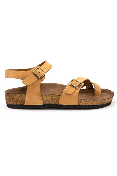 Kadın Sarı Parmak Arası Deri Sandalet 215523