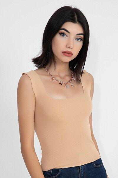 Kadın Kahverengi Kare Yaka Triko Kısa Crop Body
