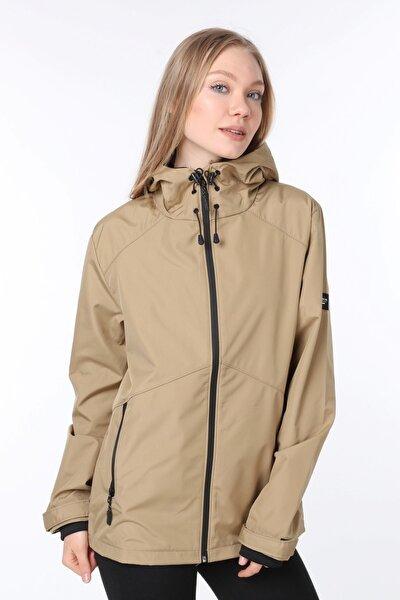 Kadın Rüzgarlık Yağmurluk Omuz Detaylı Mevsimlik Bej Spor Ceket