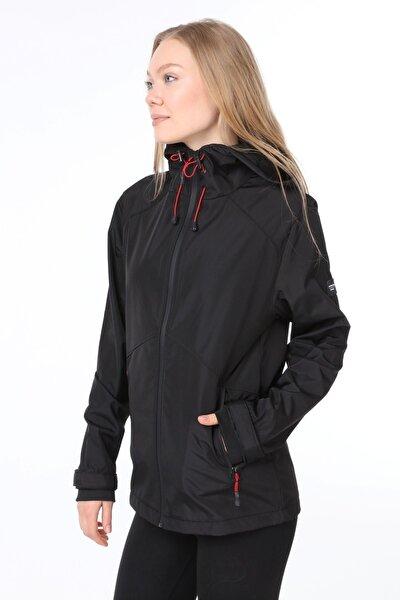 Kadın Rüzgarlık Yağmurluk Omuz Detaylı Mevsimlik Siyah Spor Ceket