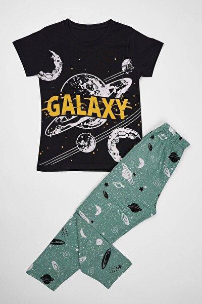 Erkek Çocuk Siyah Galaxy Baskılı Pijama Takımı