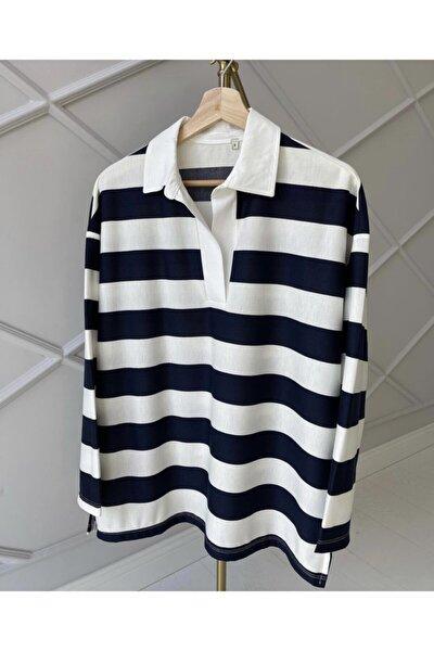 Kadın Lacivert Gömlek Yaka Çizgili Bluz