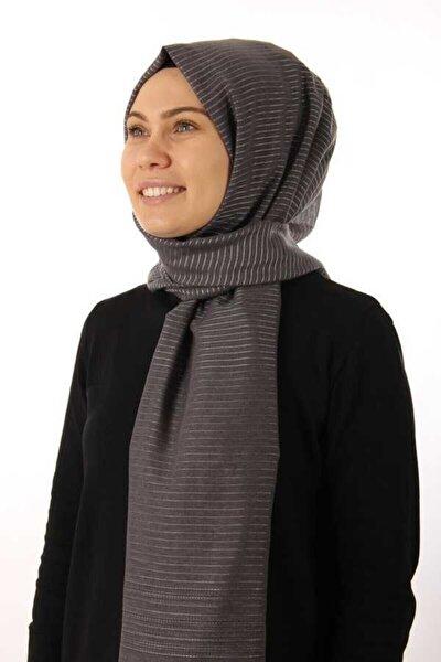 Kadın Gri Tesettür  Simli Çizgili Şal 1070