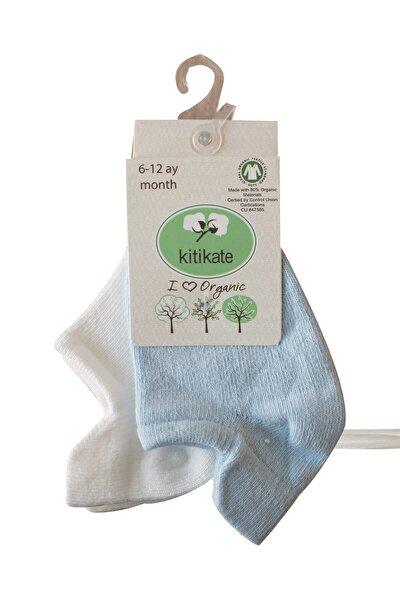 Erkek Bebek Organik Düz Desen 2li Sneakers Çorap Mavi