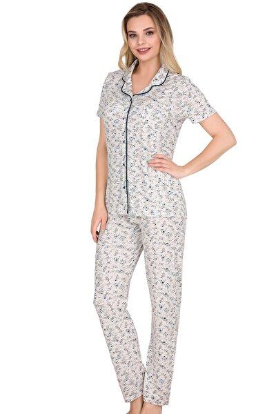 Kadın Mavi Kısa Kollu Düğmeli Pijama Takımı