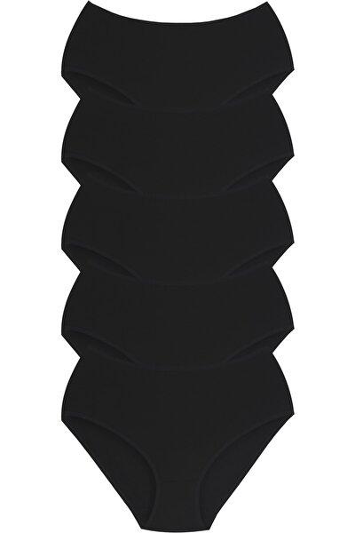 Kadın Likralı Büyük Beden Bato Külot Siyah 5li Paket Külot Seti