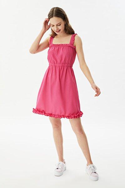 Pembe Askılı Fırfırlı Elbise TWOSS21EL3079