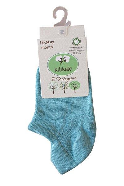 Kız Erkek Bebek Organik Düz Sneakers Çorap Petrol