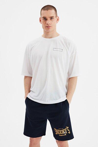 Beyaz Erkek Oversize Bisiklet Yaka Kısa Kollu Baskılı T-Shirt TMNSS21TS1070