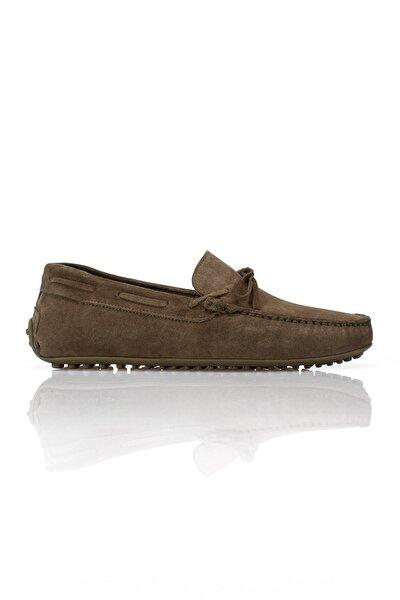 Erkek Haki Hakiki Deri Loafer Ayakkabı