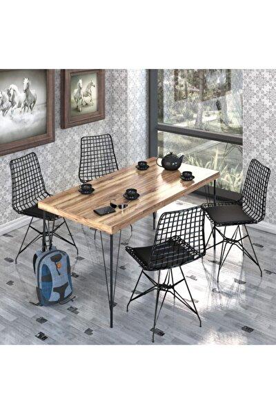 120* 60 Yemek Masa Takımı Mutfak Masası Cafe Masası 4 Adet Tel Sandalye 1 Adet Masa