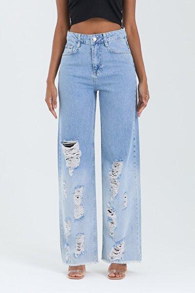 Kadın Mavi Wide Leg Pantolon