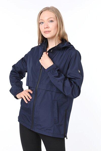 Kadın Lacivert Yırtmaç Detaylı Mevsimlik Spor Ceket