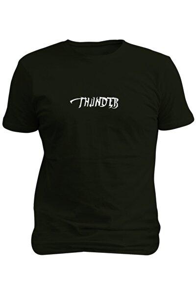 Siyah Thunder Baskılı T-shirt