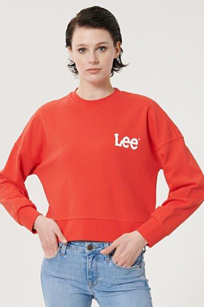 Kadın Kırmızı Regular Fit %100 Pamuk Sıfır Yaka Sweatshirt
