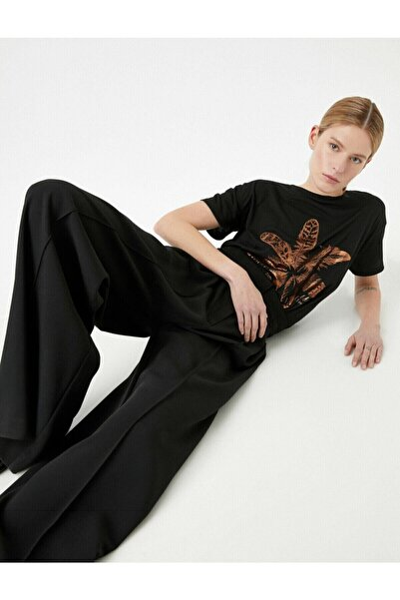 Kadın Siyah Baskılı Metalik Bisiklet Yaka T-Shirt