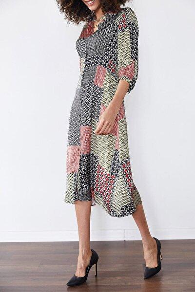 Multi Etnik Desenli Saten Elbise