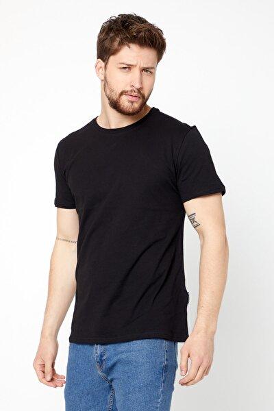 Erkek Siyah Basıc Slim Fit Pamuklu Kısa Kollu Bisiklet Yaka T-shirt
